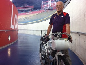 Peter Deary in the velodrome