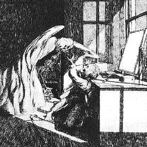 Illustration by James McBryde (1904) to accompany MR James Ghost Stories of an Antiquary