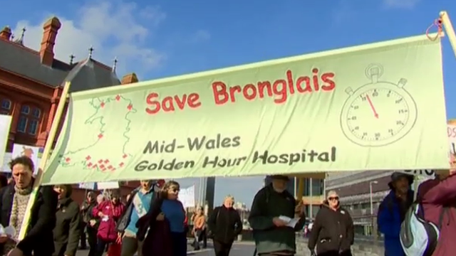 Protesters backing Bronglais Hospital