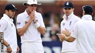 Tim Bresnan, Stuart Broad, James Anderson and Andrew Strauss