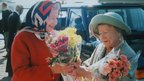 The Queen and Queen Mother in Scrabster, Scotland, August 1997