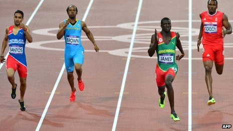Left to right: Dominican Republic's Luguelin Santos, Bahamas' Chris Brown, Grenada's Kirani James, Trinidad and Tobago's Lalonde Gordon