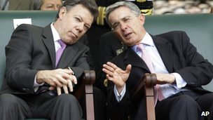 Juan Manuel Santos (left) and Alvaro Uribe (right) in file photo from 2010