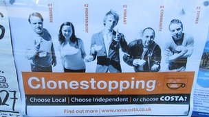 "Sign featuring ""Clonestopping"" logo"
