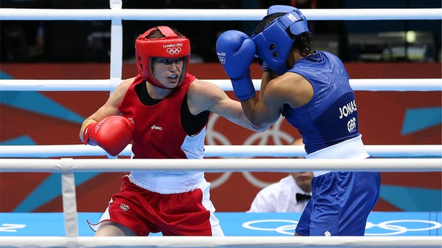 "Ireland""s Katie Taylor fights Great Britain""s Natasha Jonas"