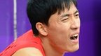 China's former Olympic gold medal winner and world record holder Liu Xiang is out of the 110m hurdles after clattering into the first hurdle in his heat at the London 2012 Olympics