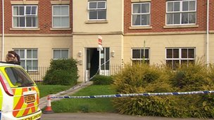 Police tape around a property at Robinson Court in Chilwell