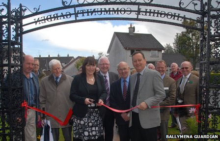A ribbon cutting ceremony at Ahoghill community garden