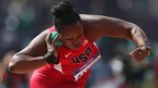 Michelle Carter of the United States competes in the women's shot put qualification at the Olympic Stadium
