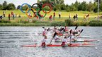 Emil Staer and Kim Wraae of Denmark compete in the men's kayak double 1000m semi-final at Eton Dorney