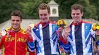 Javier Gomez, Alistair Brownlee and Jonny Brownlee