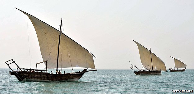 Dhows involved in pearl diving