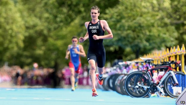 Great Britain's Alistair Brownlee in the running stage during the Men's Triathlon