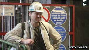A coal miner is seen at the Bergwerk Saar coal mine on the last day of the mine&#039;s operation on 29 June, 2012 in Ensdorf, Germany.