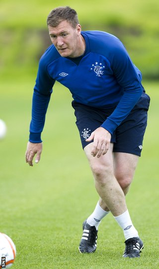 Kyle in training with Rangers as he continues his recovery from surgery