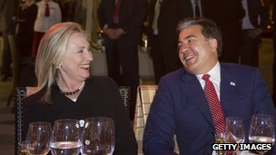 US Secretary of State Hillary Clinton with Georgian President Saakashvili