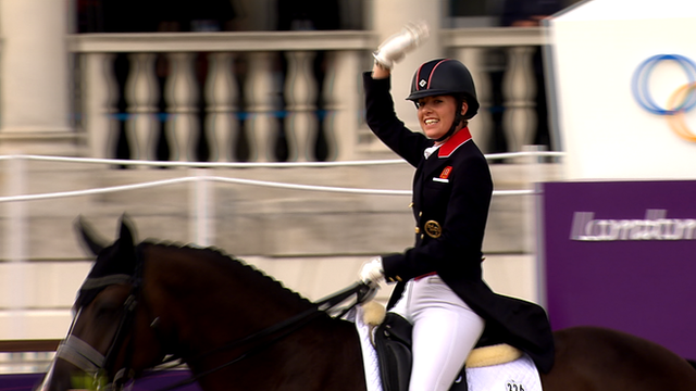 Charlotte Dujardin on Valegro celebrates