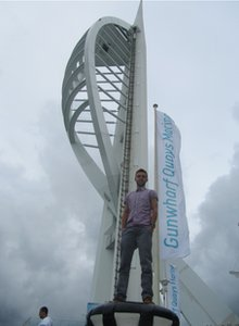 Mike standing in front of Portsmouth's Spinnaker Tower