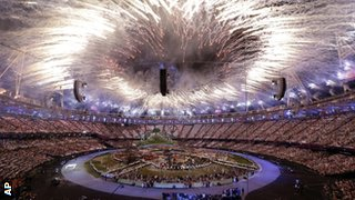 Fireworks at the Olympic opening ceremony