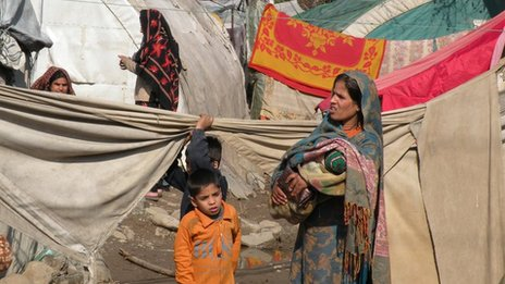 Refugee camp in Muzaffarabad, Pakistan-administered Kashmir