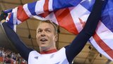 Chris Hoy celebrates his sixth Olympic gold medal