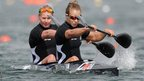 Erin Taylor and Lisa Carrington of New Zealand compete during the women&#039;s kayak double 500m sprint at Eton Dorney 
