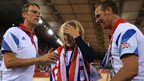 Great Britain&#039;s Laura Trott of celebrates winning the gold medal in the women&#039;s omnium