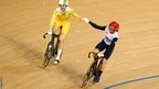Great Britain's Victoria Pendleton celebrates Australia's Anna Meares gold medal win