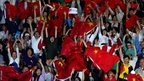 China&#039;s fans go wild as China competes against Japan during the women&#039;s team table tennis