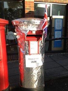 Tin foil post box for Iain Percy