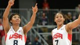 US guard Maya Moore (right) and US guard Angel McCoughtry  (left)celebrate their win over Canada