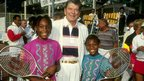 Venus and Serena Williams with President Reagan in 1990