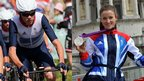 Chris Froome cycling and Lizzie Armistead with her silver medal