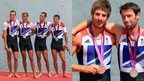 Team GB men's lightweight four team (left) and to the men's lightweight double sculls team (right)