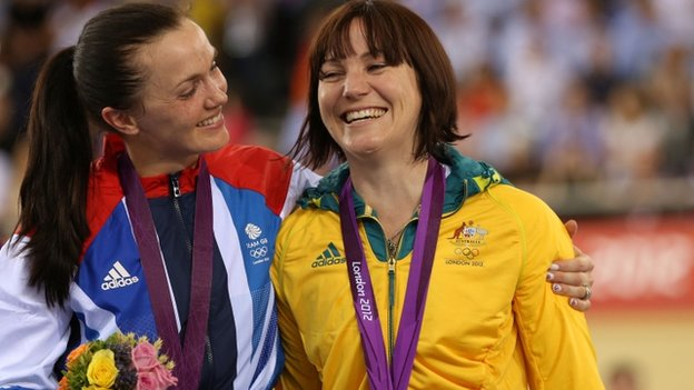Victoria Pendleton celebrates with gold-medal winner Anna Meares of Australia