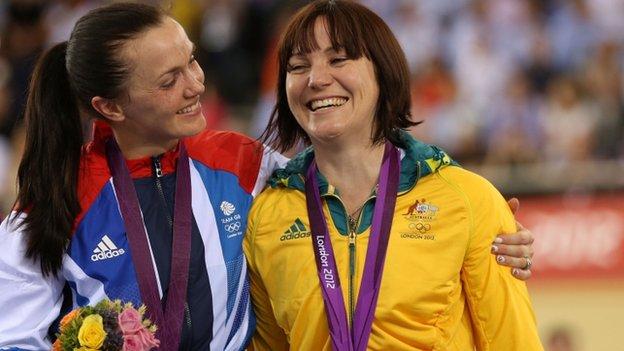 Victoria Pendleton celebrates with gold-medal winner Anna Meares of Australia