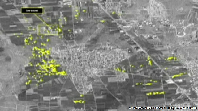 An Amnesty image allegedly showing artillery impact craters in Syria