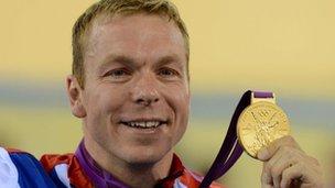 Sir Chris Hoy with gold medal