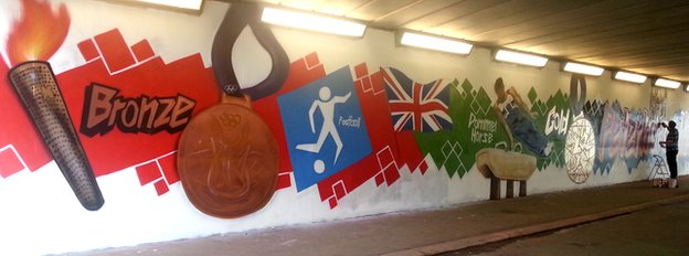 Olympic-themed graffiti in Peterborough
