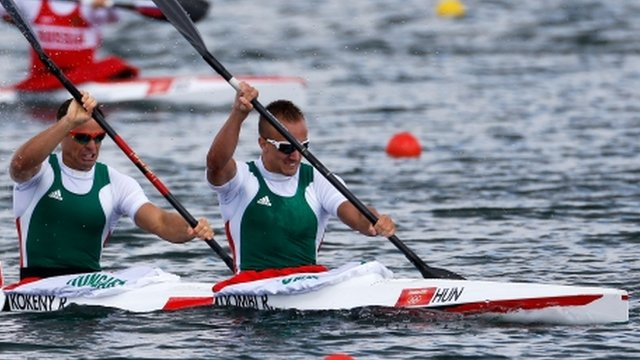 Hungary's K2 gold winners Rudolf Dombi and Roland Kokeny