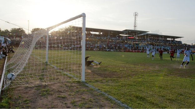 Southern Sudan score a penalty against Uganda at the Juba Stadium, 10 July 2012