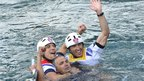 David Florence and Richard Hounslow celebrate their silver medal win with their coach