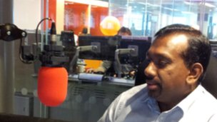 Minister Mahindananda Aluthgamage in a BBC studio