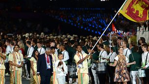Sri Lanka team at the opening ceremony