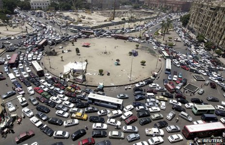 Traffic jam in Tahrir Square (July 2012)