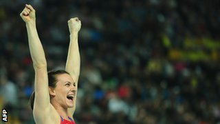 Yelena Isinbayeva celebrates at 2012 Indoor Championships