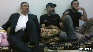 Syrian opposition image of Riad Hijab with Free Syrian Army fighters in Deraa, Syria, 7 Aug 2012