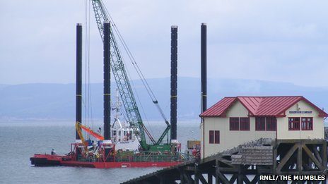 The barge next to the current Mumbles lifeboat station