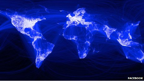 Visualisation of where people live in relation to their Facebook friends, 2010