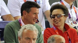 Lord Coe talks to Princess Anne while watching the track cycling